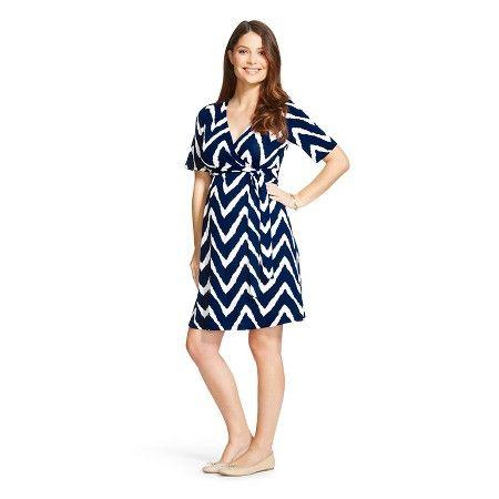 Maternity Elbow Sleeve Surplice Chevron Dress - MaCherie