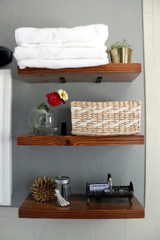 Nice stained wood open bathroom shelves | Apartment Therapy | Home ...