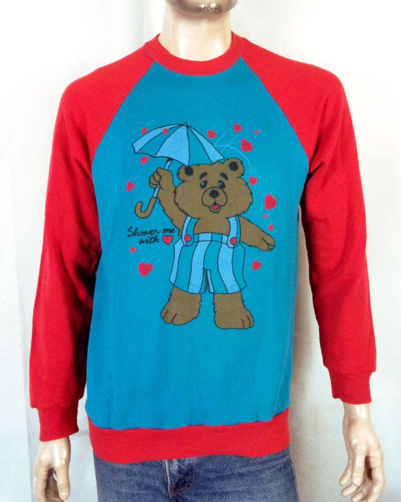 27e04f5b77a vtg 80s retro Two Tone Red Blue Raglan Sweatshirt Teddy Bear with Umbrella  sz XL