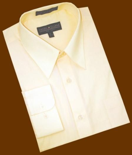 37792ab2efef SKU#ET757 Solid Champagne Cotton Blend Dress Shirt With Convertible Cuffs  $39 | MensITALY Price: US $39