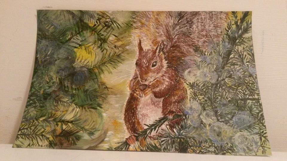 Eichhörnchen mit Acryl gezeichnet