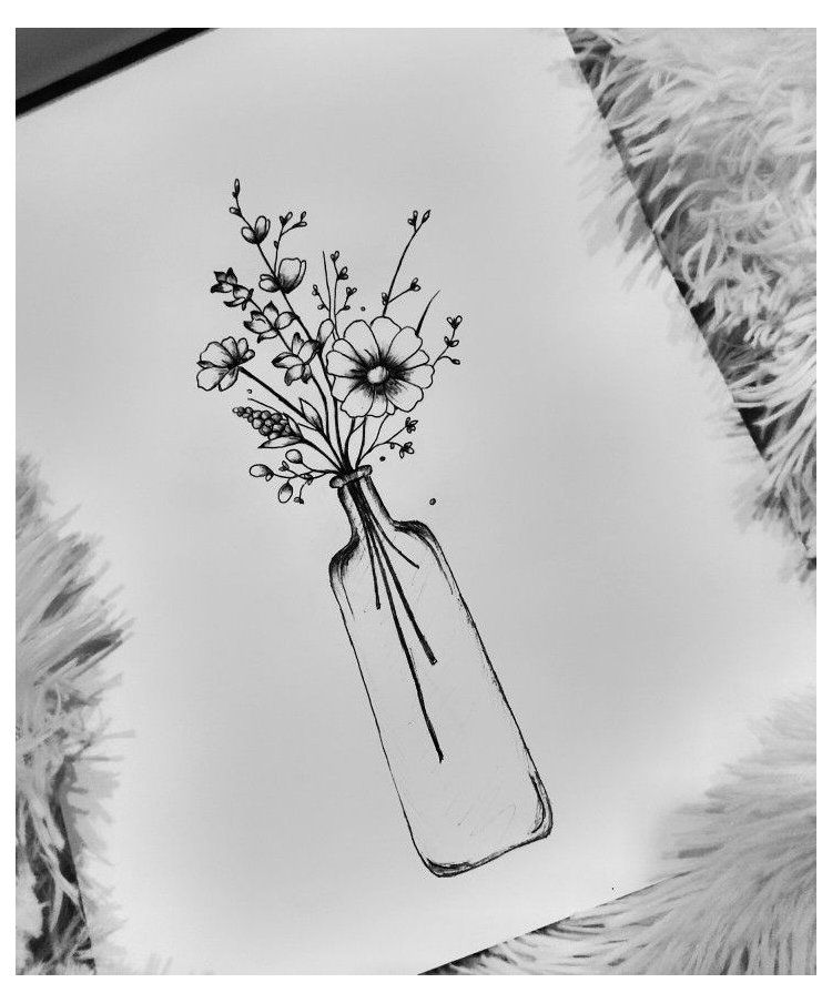Vase Drawing Simple Flowers In A Bottle Maybe Right Calf Facing Inside Bottle Drawing Flower Drawing Drawings