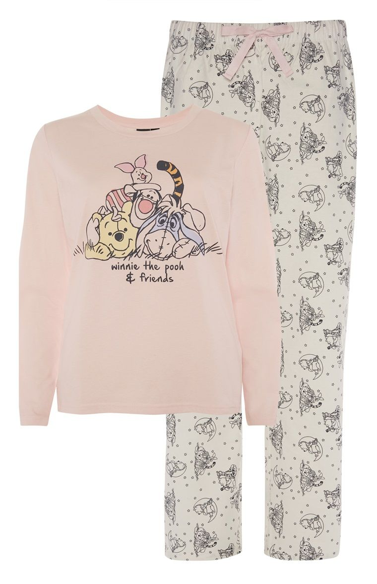 98b4785fbb  Primark - Winnie The Pooh And Friends PJ Set £11 AOP bottoms with matching  motif and slogan top. different background colours