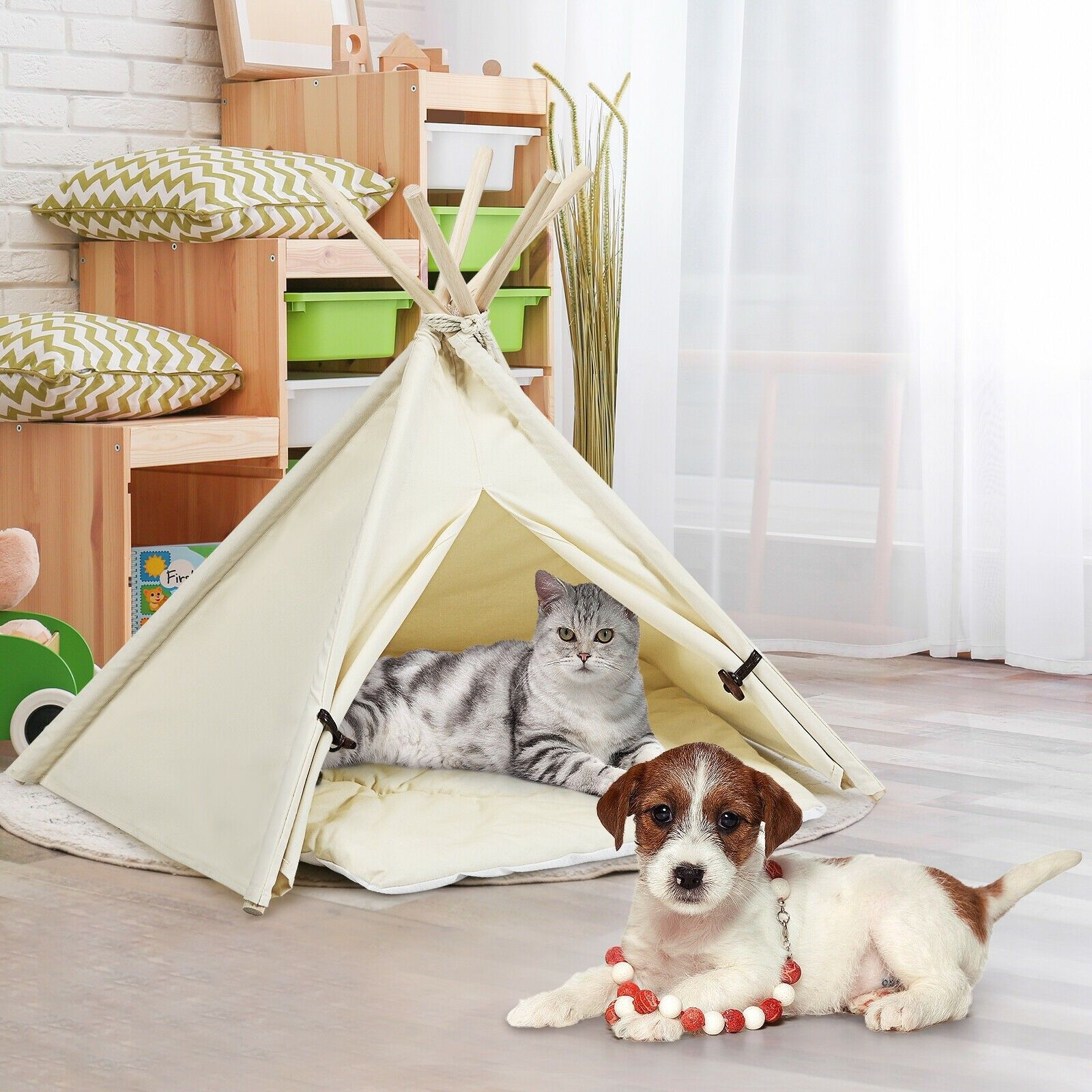 Indoor Pet Teepee Dog Puppy Cat Bed Portable Canvas Tent And House With Cushion Pet Teepee Indoor Pets Cat Bed