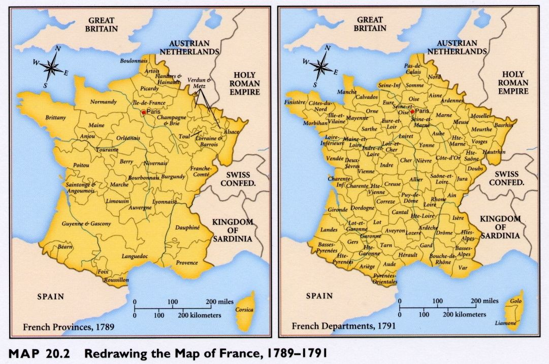 Map Of France In 1789.1789 1791 Administrative Reorganization Of France Into Departements
