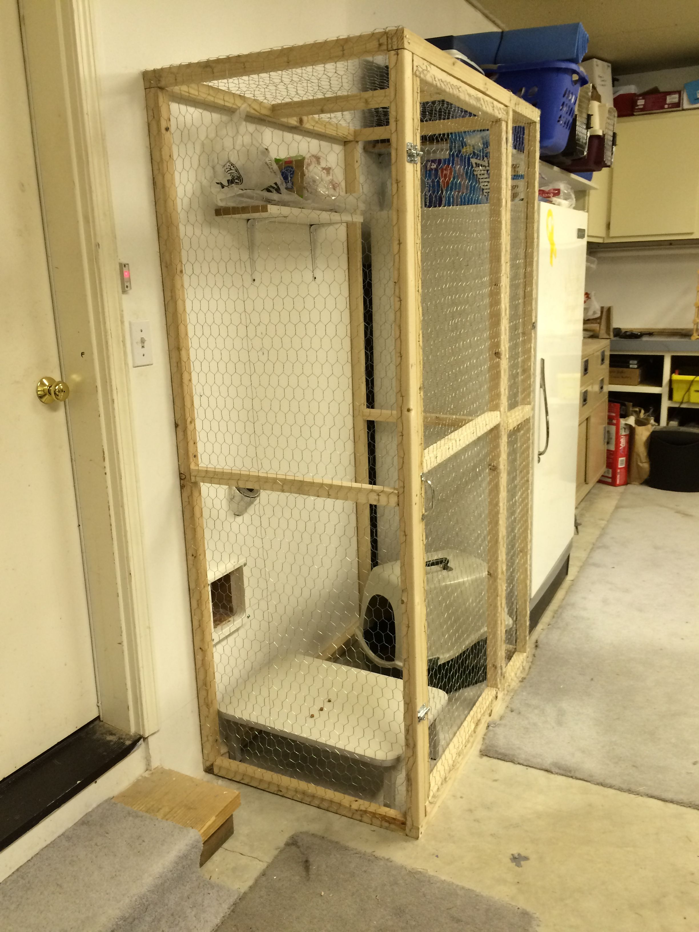 Litter Box Enclosure In The Garage Accessed By Cat Door Wall No More My Utility Room