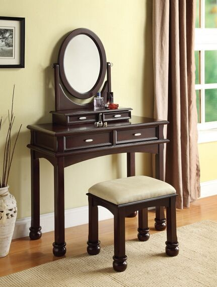 Mirrored Vanity Table And Stool: Amherst 3 Pc Espresso Finish Wood Make Up Dressing Table