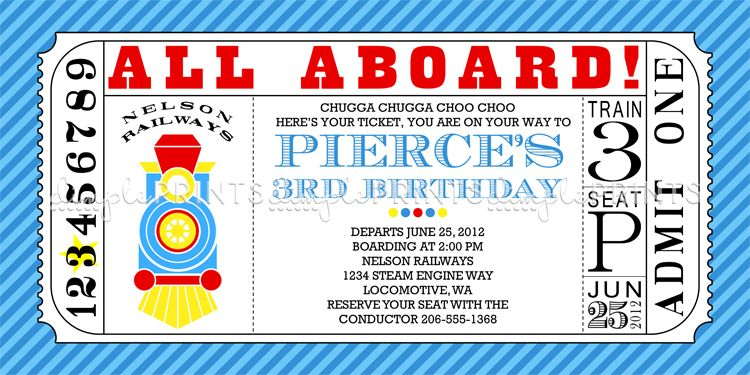 Train Ticket Printable Birthday Invitation Pinterest Ticket