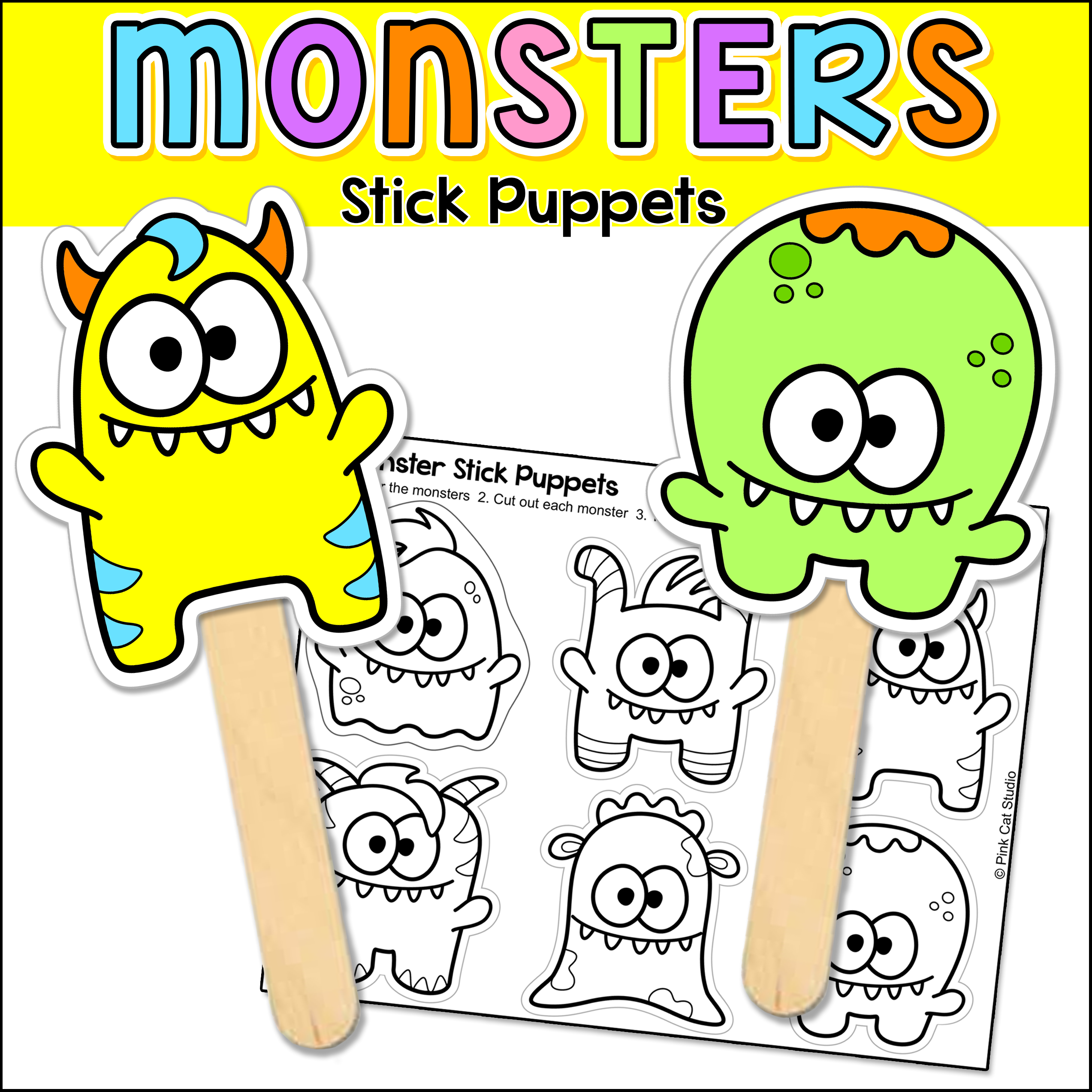 Monsters Stick Puppets Coloring Page Owl writing