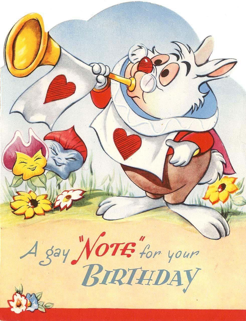 Wallpaper iphone alice wonderland - Wallpaper Iphone Disney Vintage Disney Alice English Birthday Card By Valentine S White