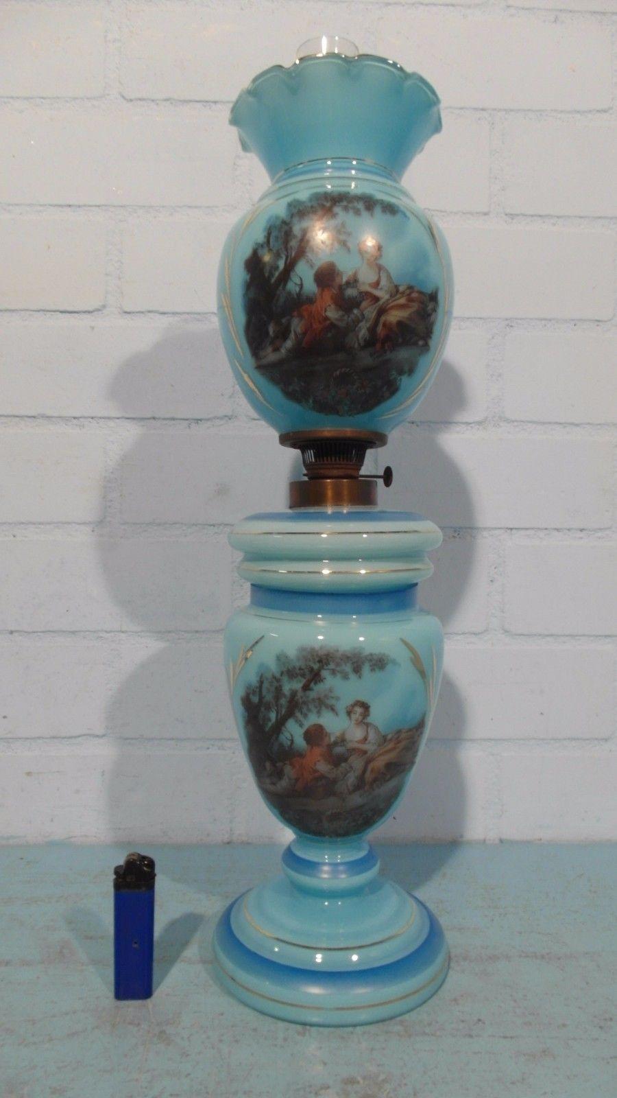 Blue English Glass Parlor Oil Lamp with Fragonard Scene | eBay