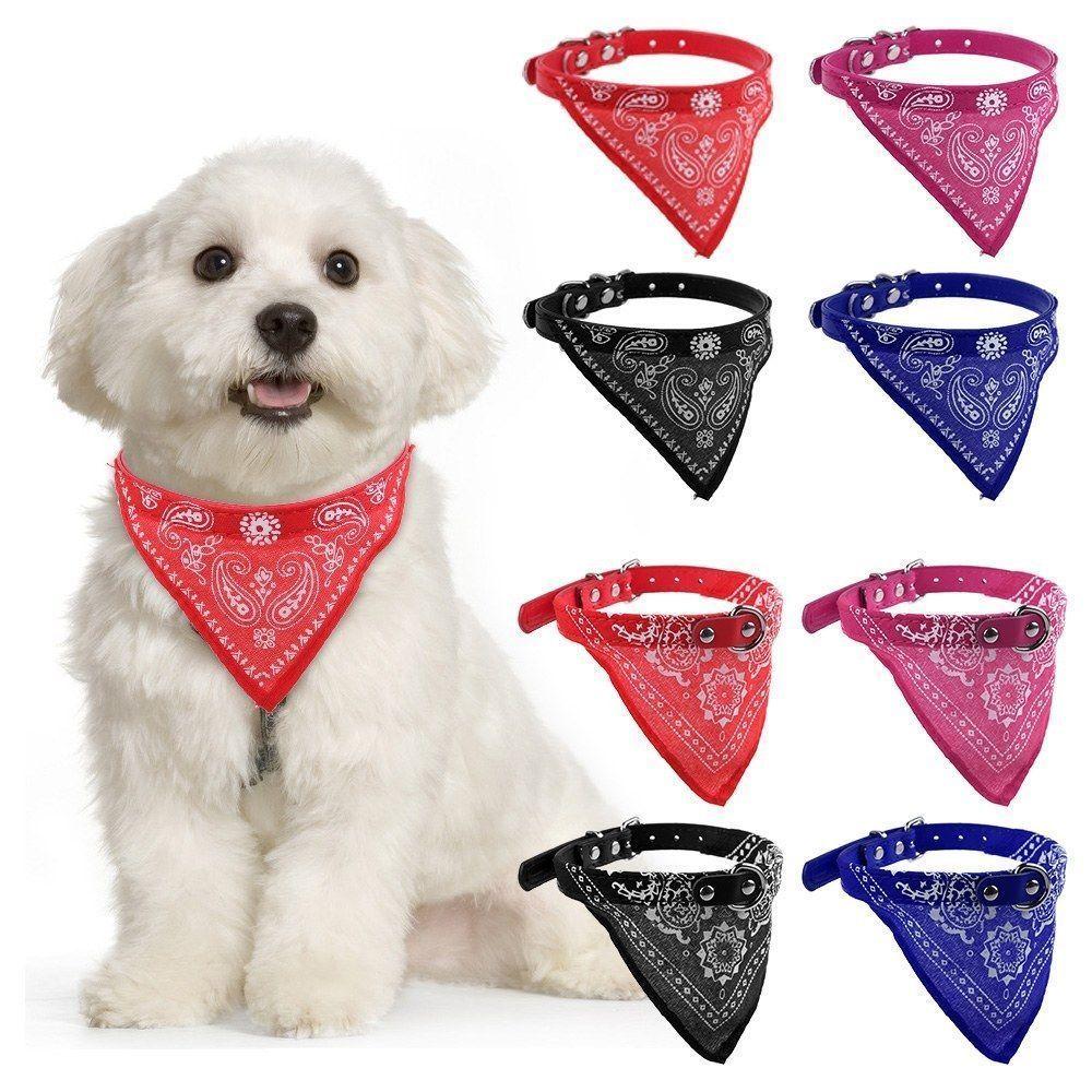 Pet Dog Puppy Nylon Adjustable Bandana Scarf Collar Triangle Neckerchief