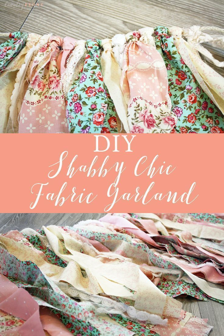 DIY Shabby Chic Fabric Garland. Click through for the step-by-step tutorial to make your own shabby chic fabric garland perfect for a nursery, bridal shower, baby shower or any space that needs a little extra charm. #fabricgarland #babyshowerdecor #nurserydecor #shabbychic