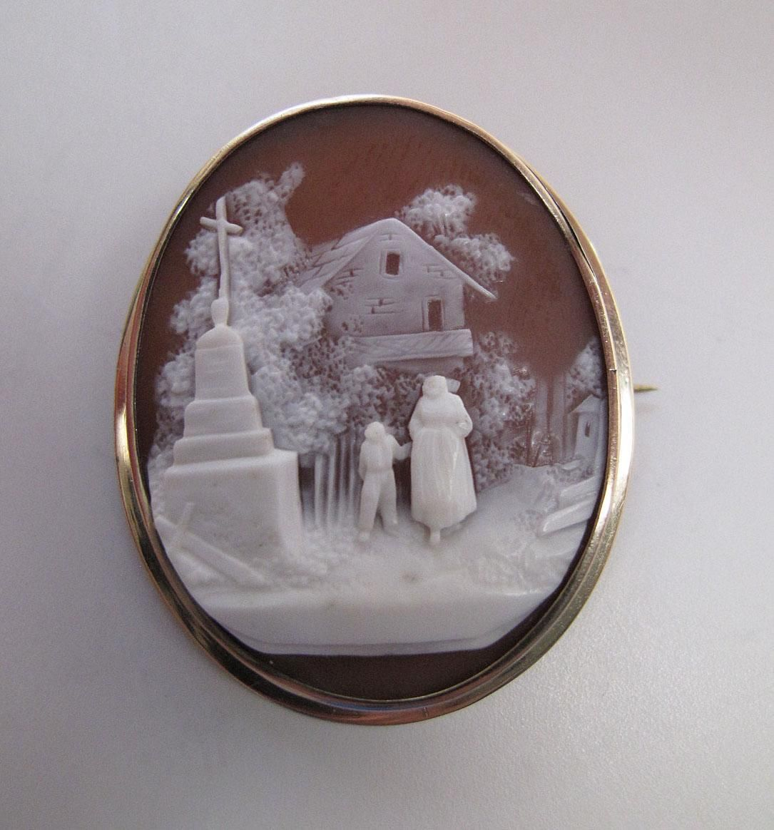 Antique Victorian 14K Gold Scenic Shell Cameo Brooch... a finely carved example with a nicely detailed pastoral vignette. The scene is beautifully