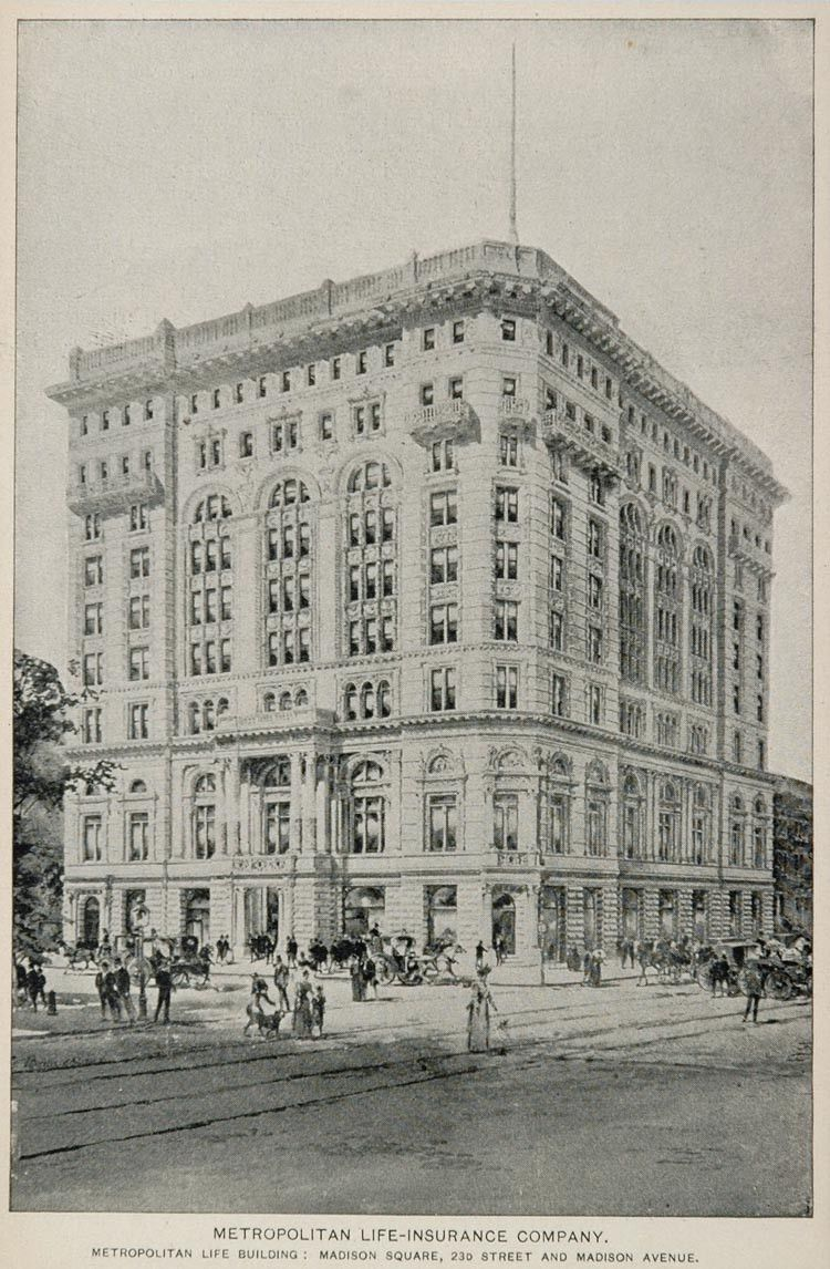 1893 Print Metropolitan Life Building New York City Nyc Original
