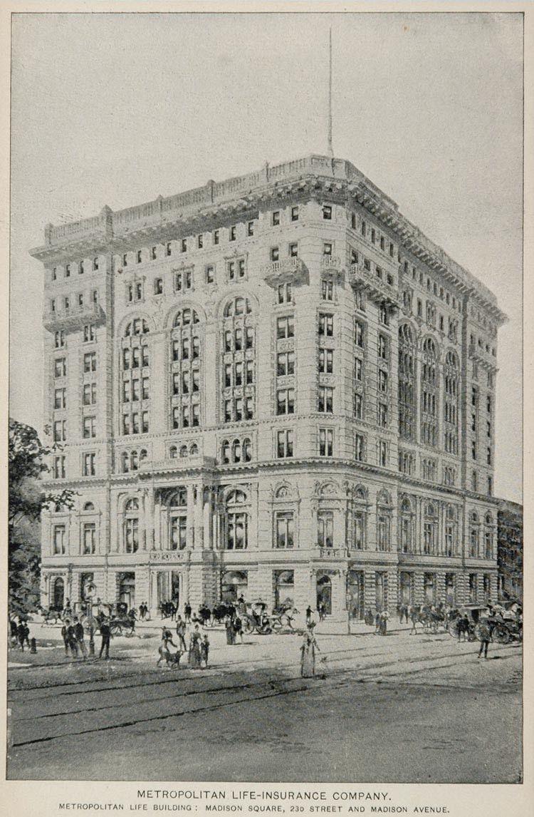 1893 Print Metropolitan Life Building New York City Nyc Original