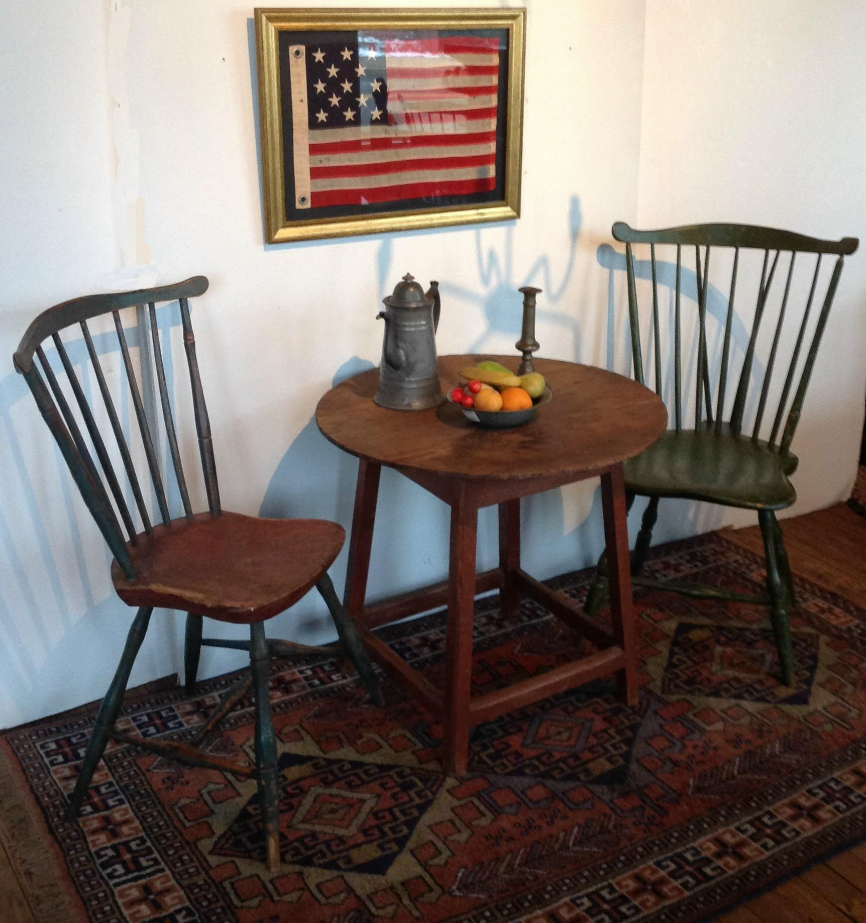 18th Century Tavern Table With Two Windsor Chairs And 13 Star Flag