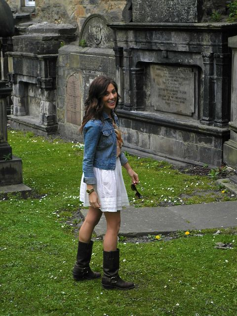 jean jacket + white dress/skirt + brown boots