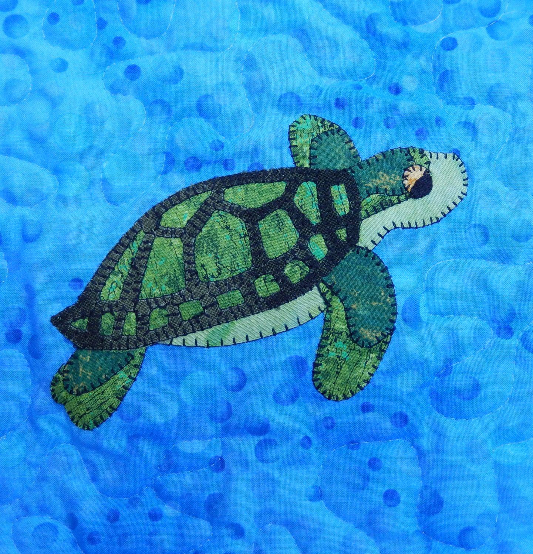 Green sea turtle PDF applique pattern; marine animal quilt pattern ...