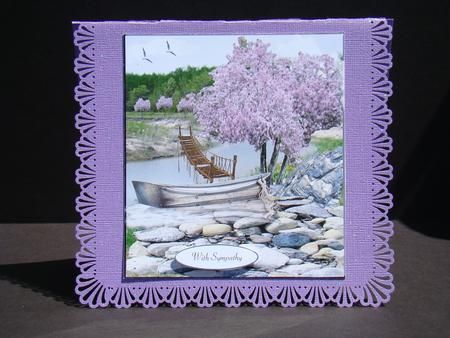 Still Waters Sympathy Topper Insert and Verse on Craftsuprint designed by Barbara Hiebert - made by Beverly Carmichael - Printed on to good quality glossy photo paper. Cut out all pieces. Attached main piece to a purple glitter card base with fancy borders. Attached sentiment using foam pads and insert using double sided sticky tape. - Now available for download!