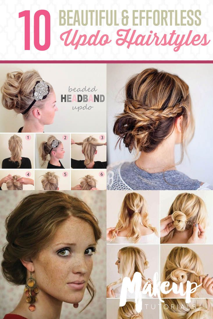 Updo Hairstyle Tutorials For Medium Length Hair Makeup Tutorials Medium Length Hair Styles Medium Hair Styles Long Hair Updo