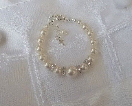 pearl bracelet for baby-FREE SHIPPING-gift by sugarontopjewelry