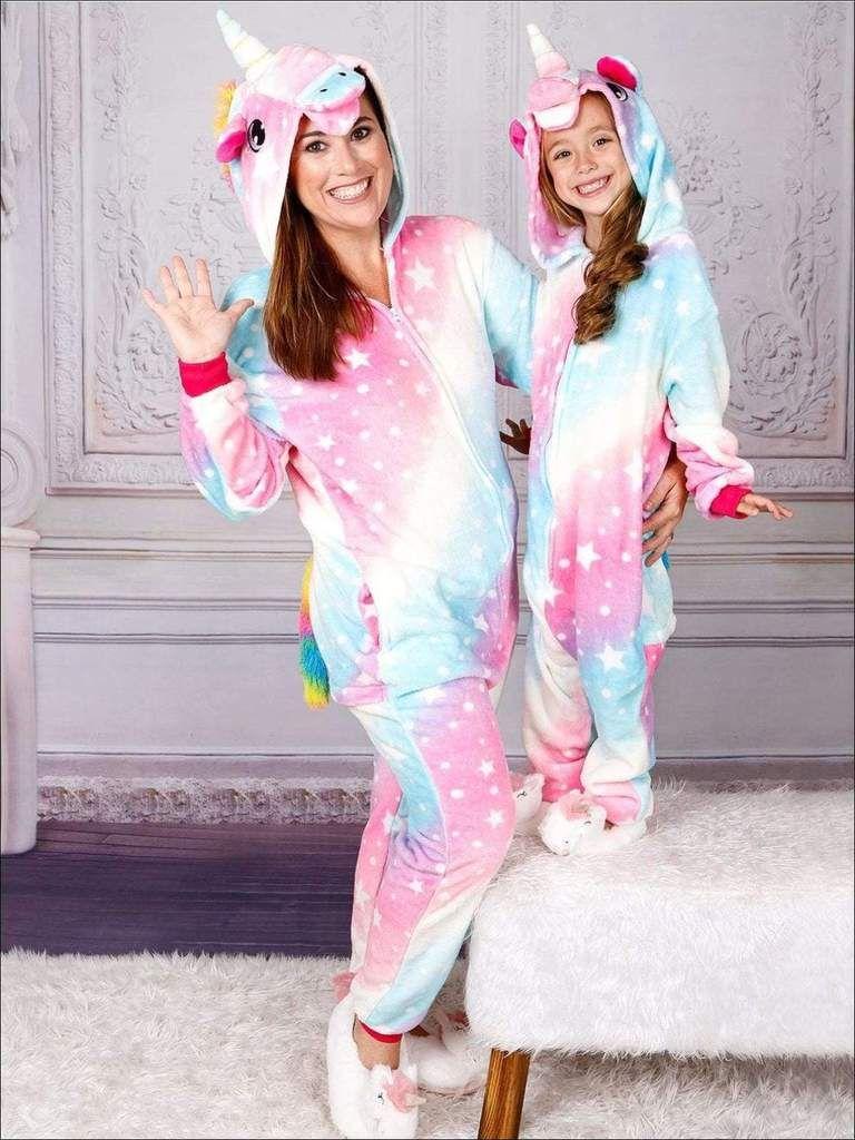 Mommy Me Cotton Candy Star Unicorn Pajamas Adorable Onesie Onesie Pajamas Mommy And Me