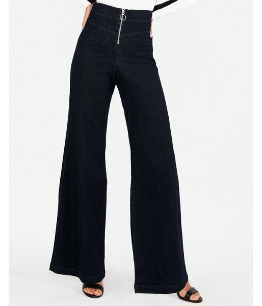c4921bc26be13f Super High Waisted Exposed Zip Stretch Wide Leg Jeans, Women's Size:10 Short