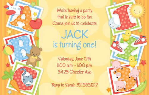 PSP ABC 1231st birthday invitation First Birthday invitation