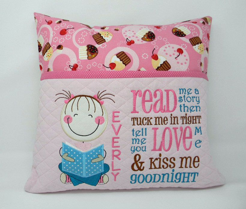 Girl Reading Pillow Pocket Book Gift For Readers Travel