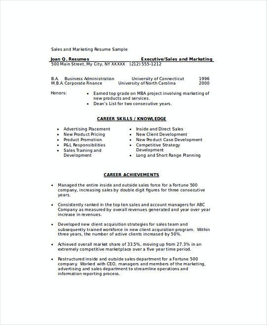 Marketing Sales Manager Resume Template  Sales Operations Manager