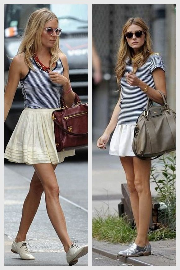 striped tank, white skirt, oxford flats | Outfits | Pinterest ...