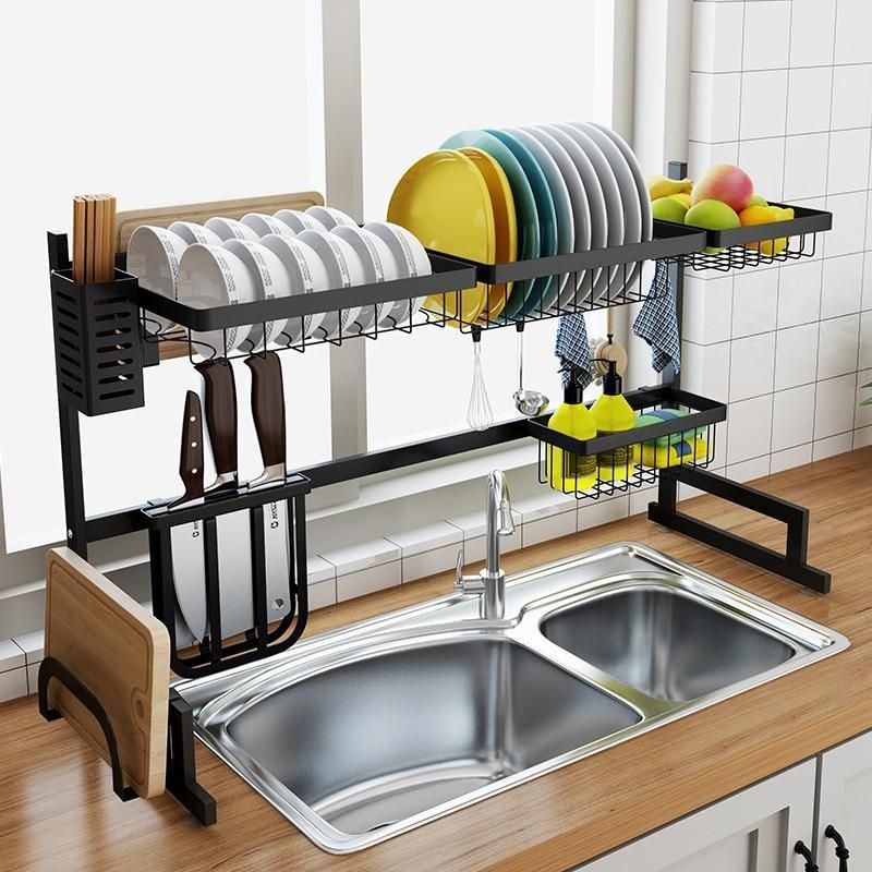 Stainless Steel Drain Rack Perfect For Dish Drying In 2020 Kitchen Interior Kitchen Storage Rack Tidy Kitchen