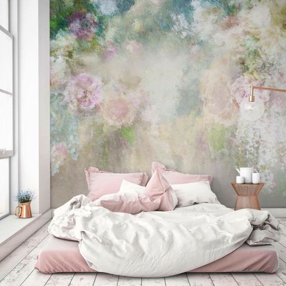 The Large Floral Mural Wallpaper Is A Real Standout In This Modern Pastel Bedroom