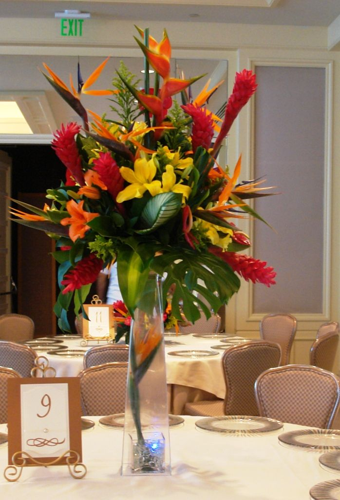 Tropical and exotic flowers tall centerpiece tfm cp