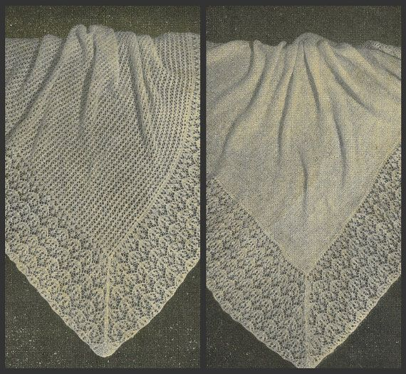 VCP25 baby shawl with lattuce leaf lace edging 2 ply wool ...