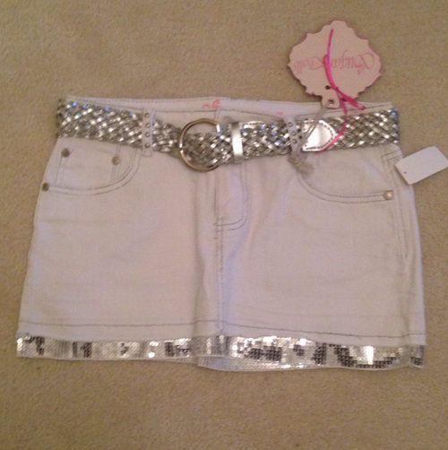 White Stretch Denim Skirt - $11