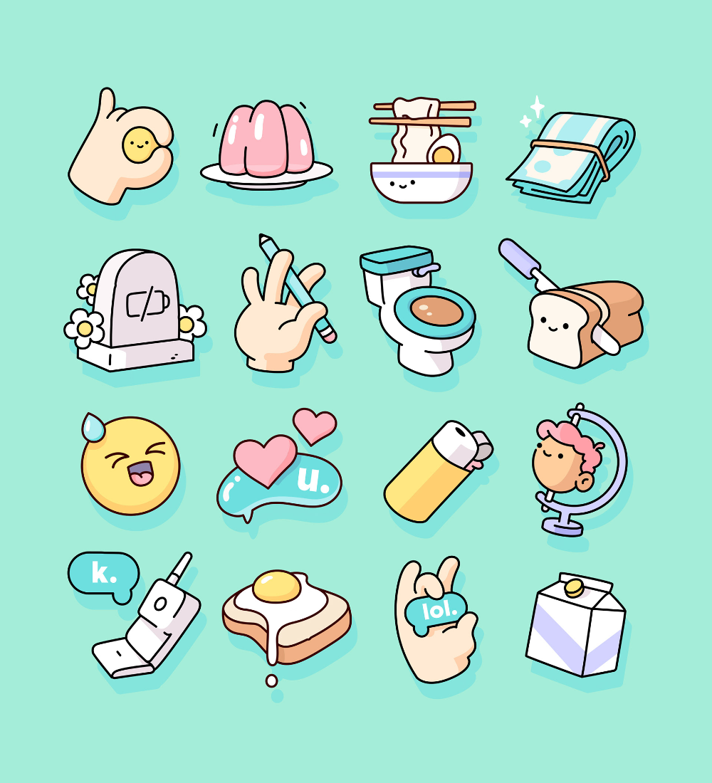 Snapchat Sticker Pack on Behance in 2020