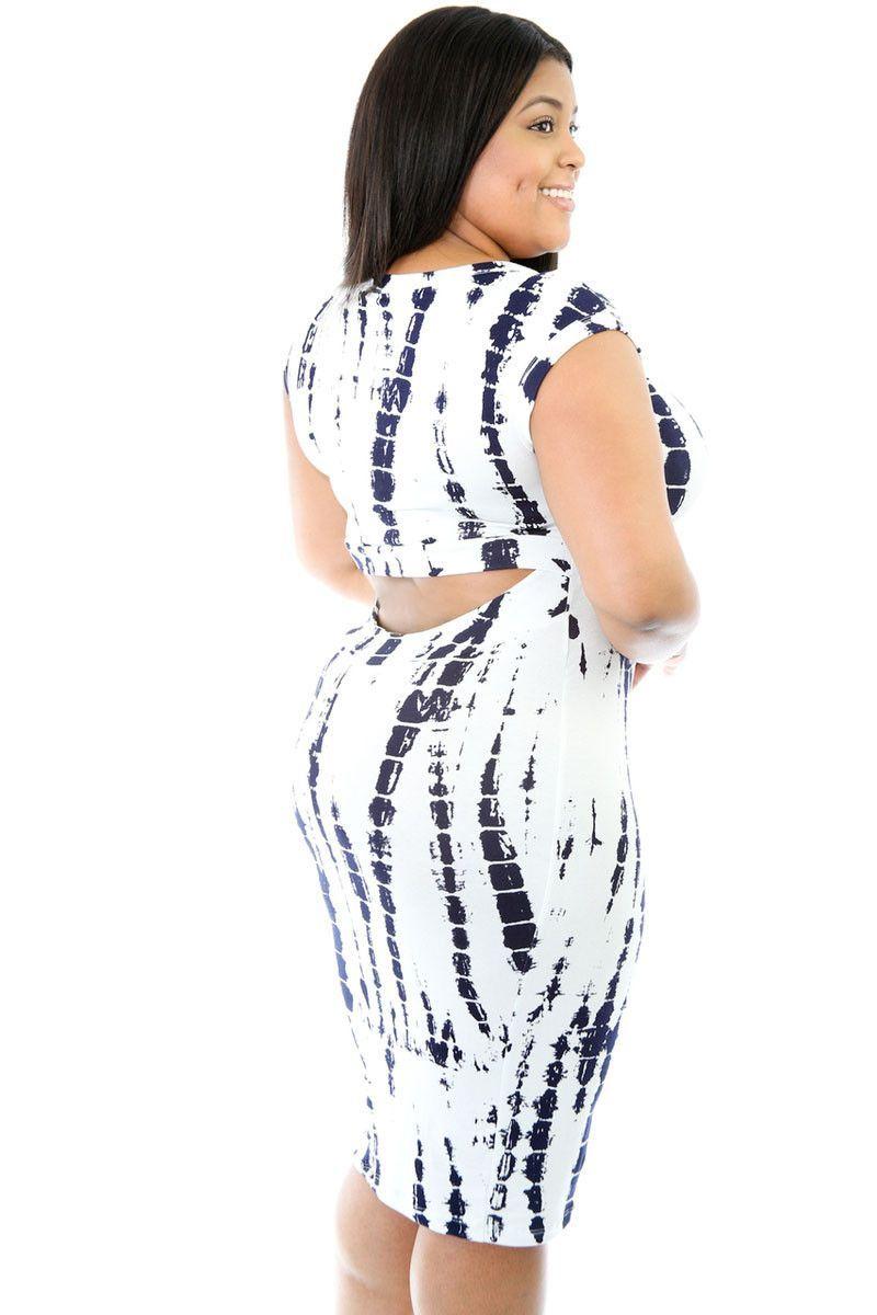 BIG'n'TRENDY Tie Dye Cut-out Back Plus Size Midi Dress