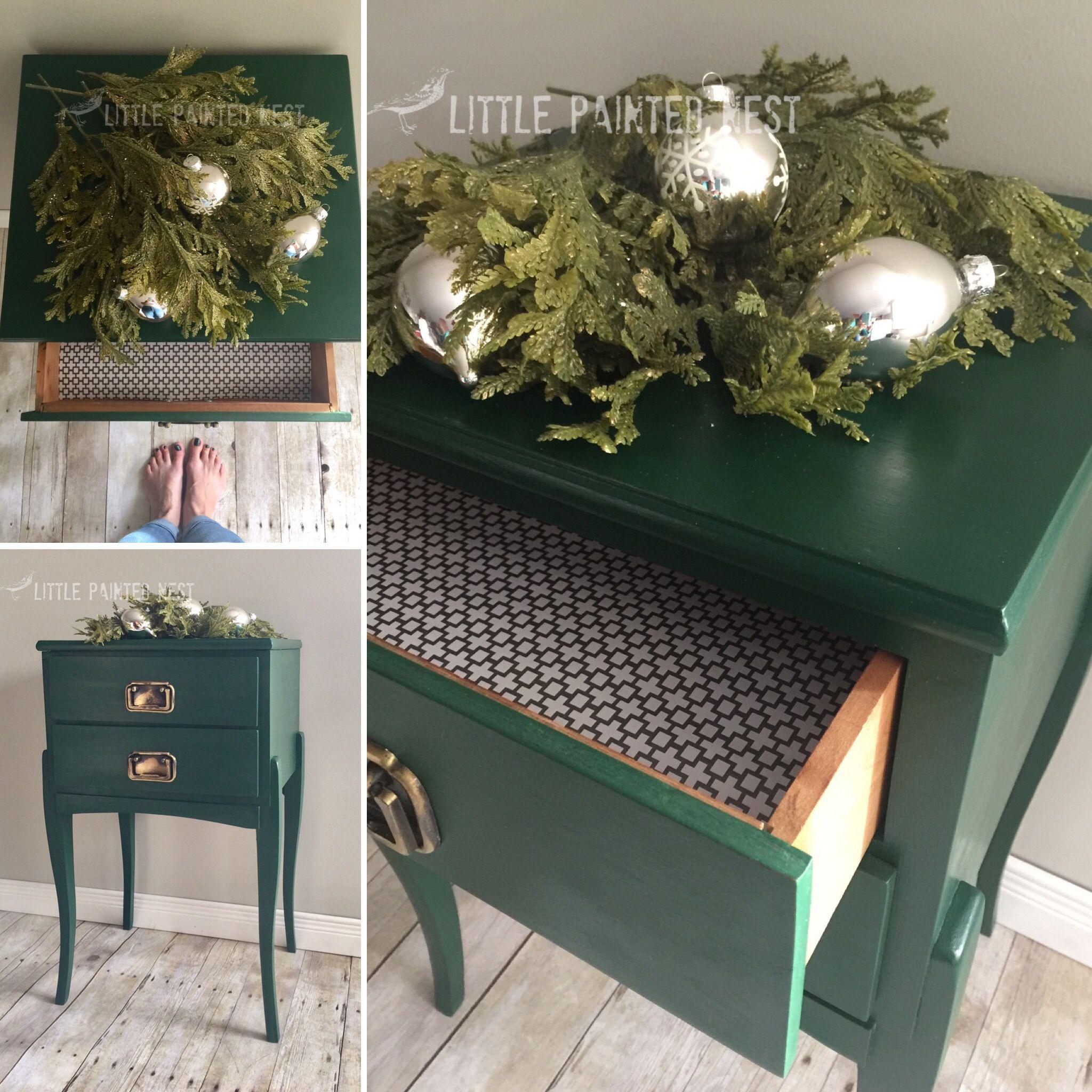 Annie Sloan Amsterdam green & clear wax! Sleek & sophisticated!