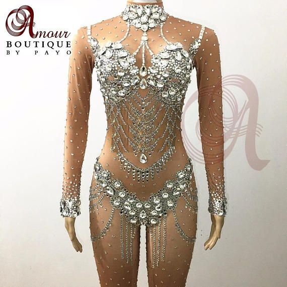 bf32439fcb Rhinestone Bodysuit Catsuit Drag Queen Outfits