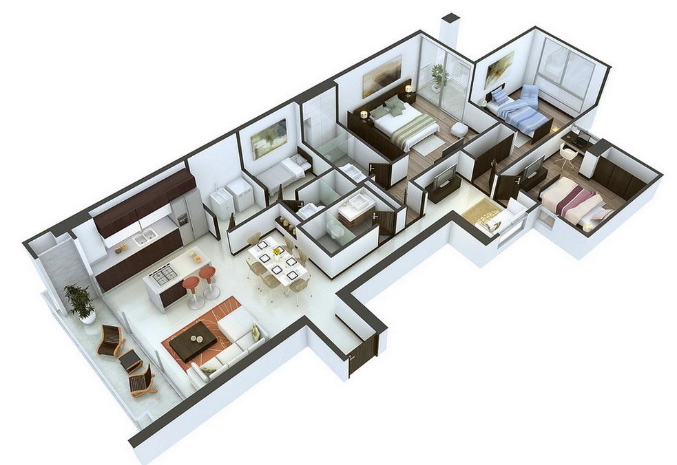 25 More 3 Bedroom 3d Floor Plans Architecture Design Floor Plan Design Apartment Floor Plans Small House Plans