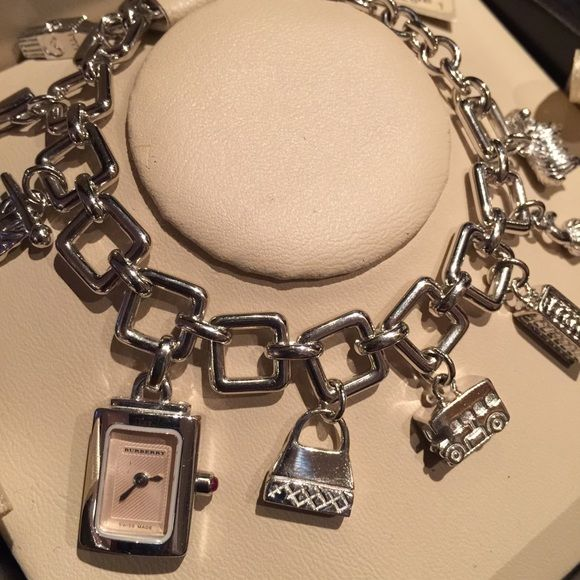 Burberry Charm Bracelet Watch Authentic With Original Box In Mint Condition Needs A New Battery Otherwise This Is Like