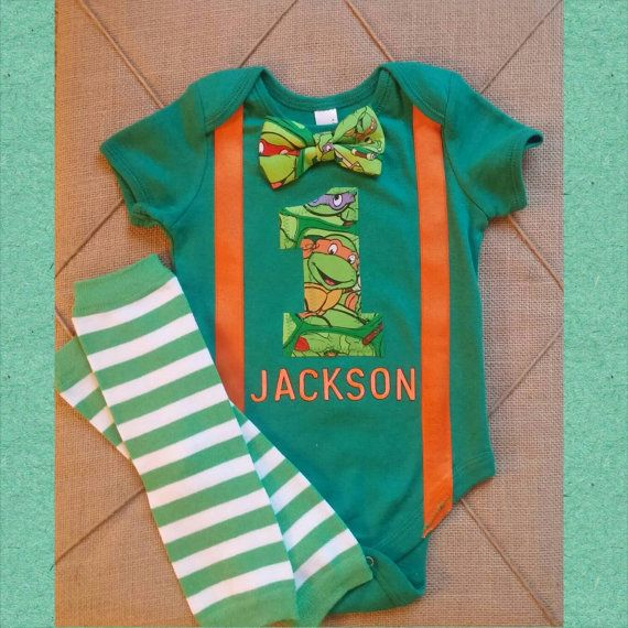 TMNT Birthday Boy Outfit First Birthday Second Birthday Leg