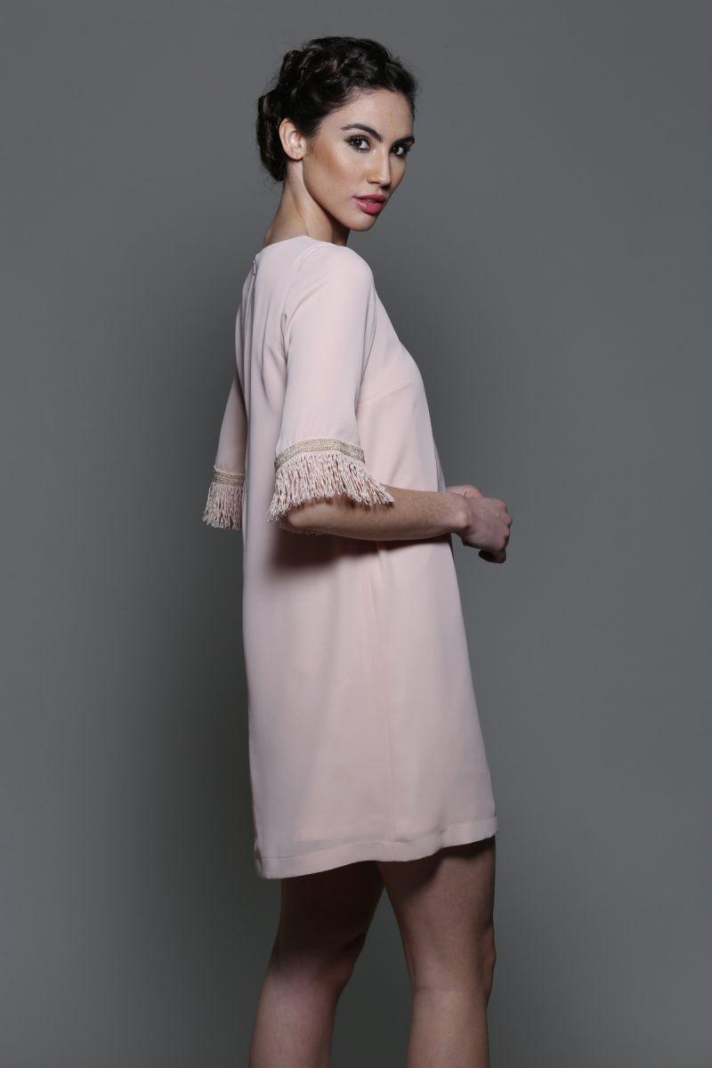 1eabaf1a914ed comprar online vestido evase de manga larga rosa palo para boda fiesta  evento coctel bautizo comunion graduacion de primavera verano en apparentia  ...