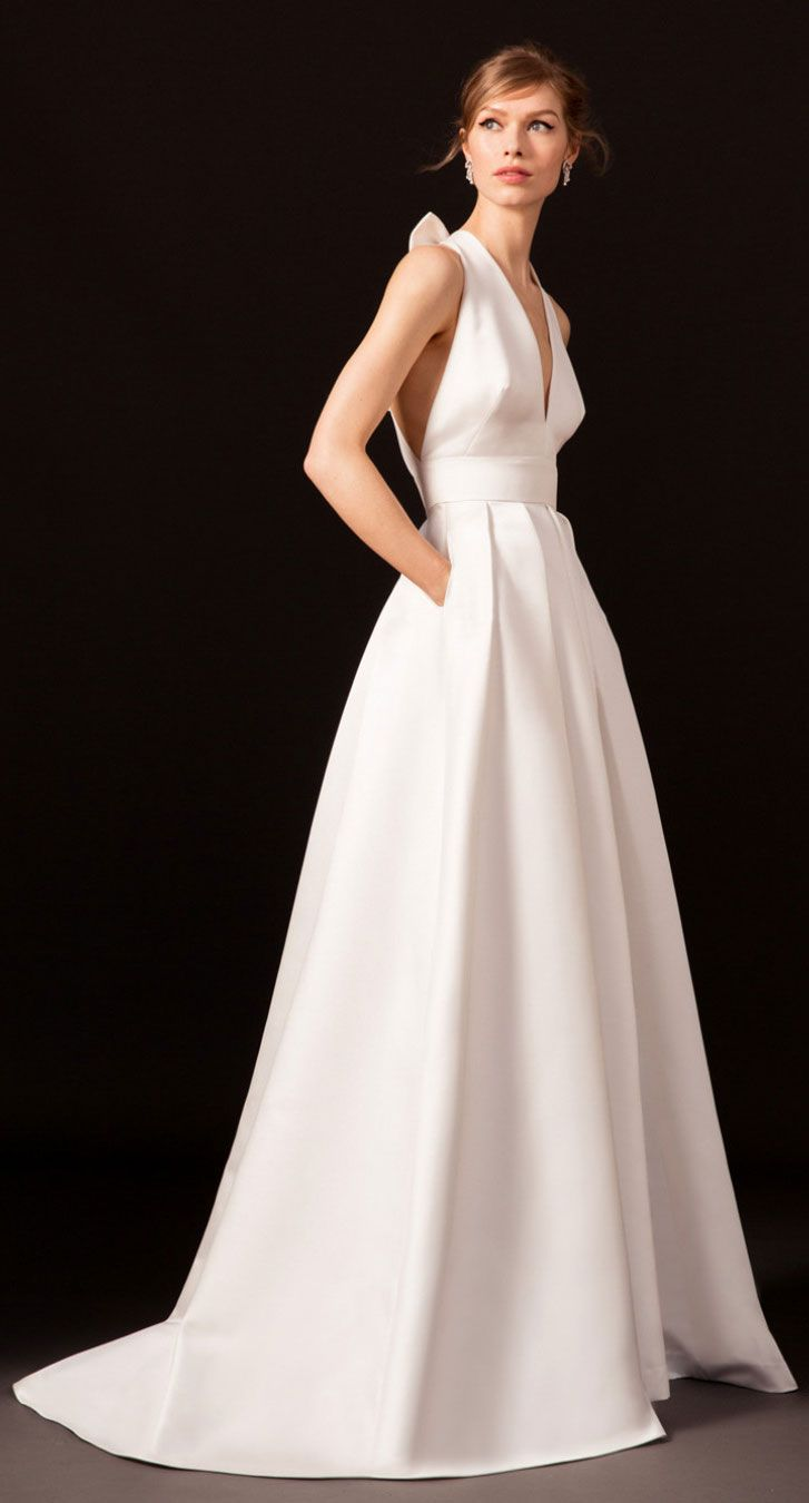 halter V neckline crystal embellished wide straps pleated skirt a line wedding dress #wedding #weddingdress #weddinggowns