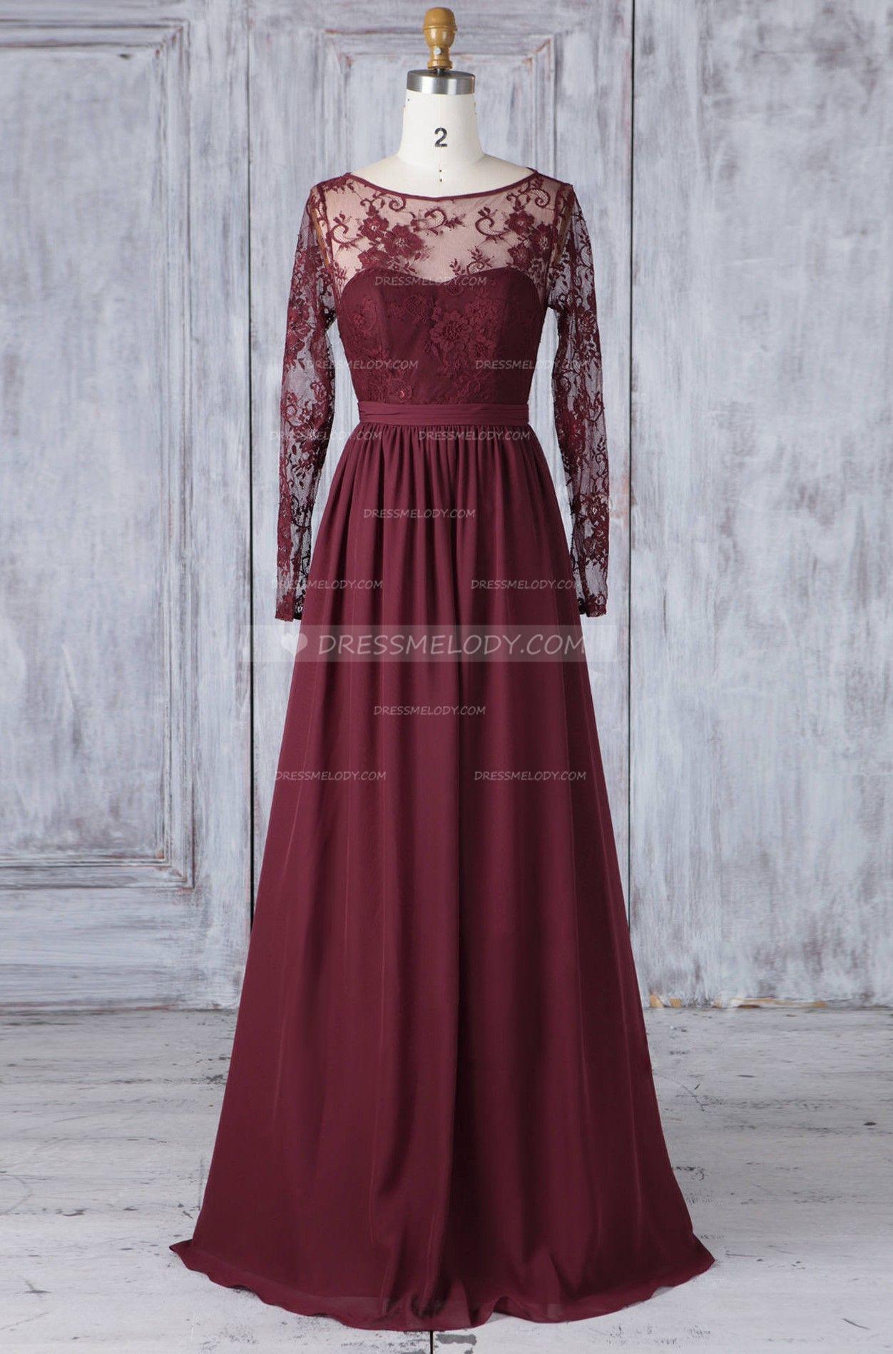 Lace sheer bateau neck long sleeves long solid chiffon bridesmaid