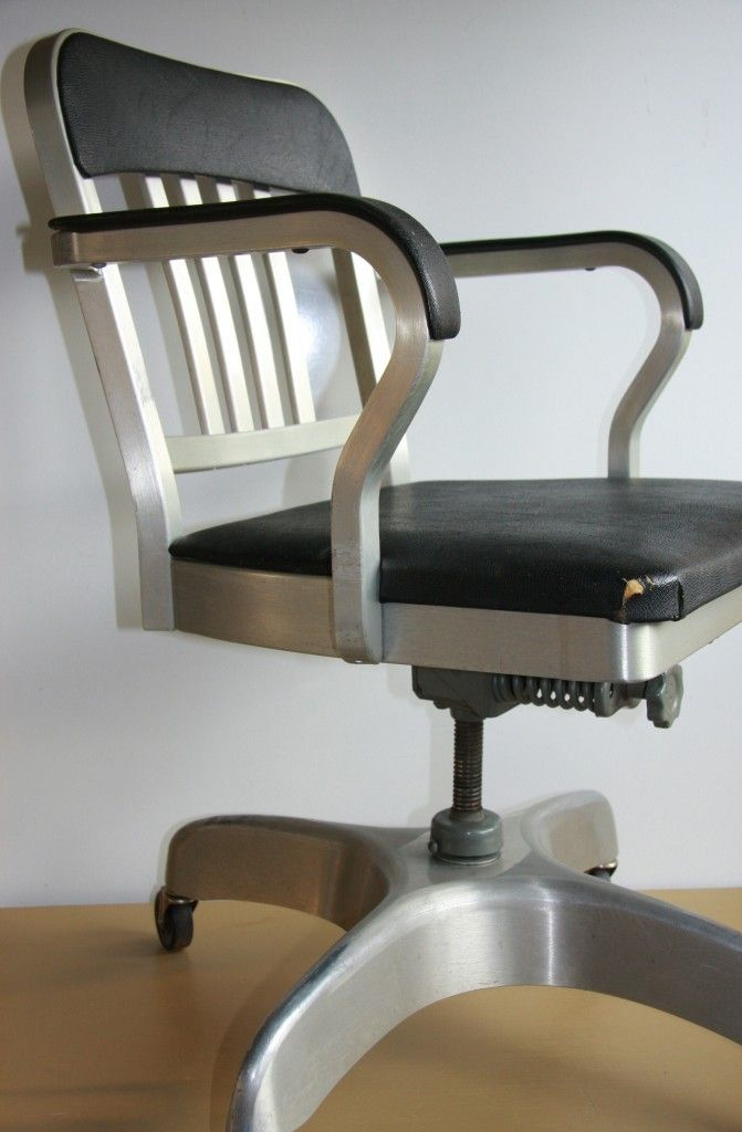 1965 Industrial Emeco Navy Mid Century Goodform Brushed Aluminum Office  Chair
