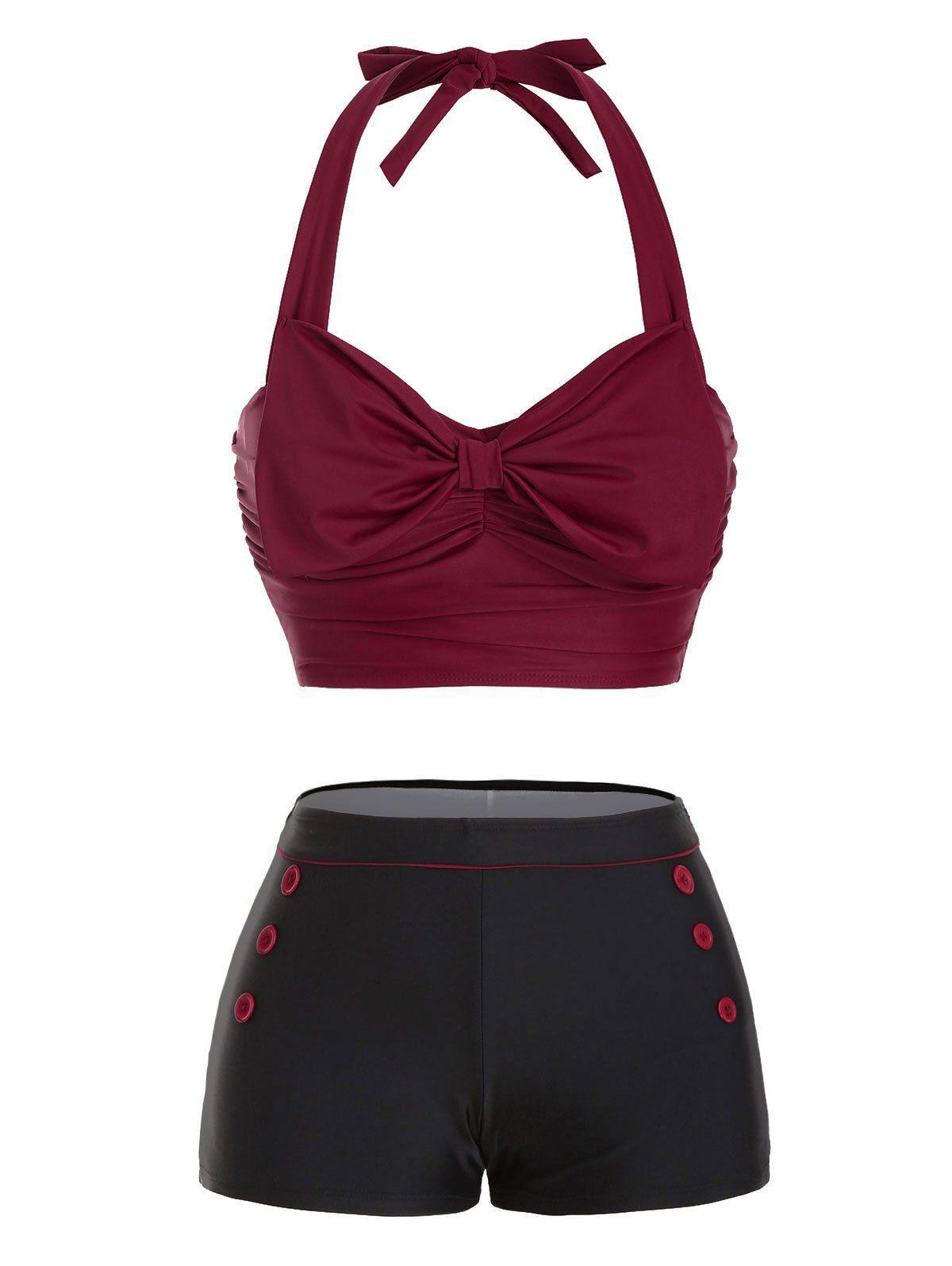 Bowknot Halter Button Embellished Moulded Bikini Swimwear