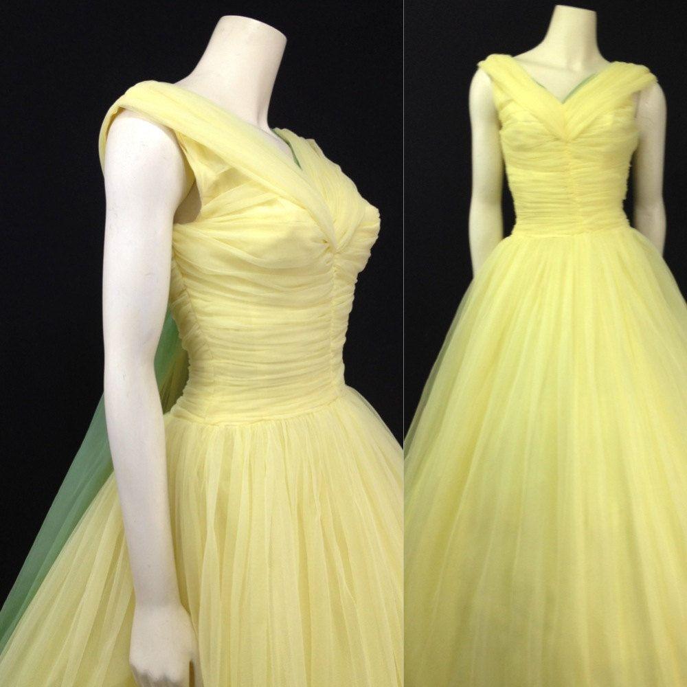 Vintage s ball gown yellow prom dress formal tulle full skirt